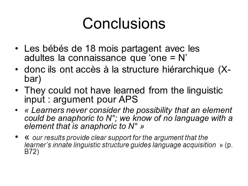 Conclusions Les bébés de 18 mois partagent avec les adultes la connaissance que one = N donc ils ont accès à la structure hiérarchique (X- bar) They c