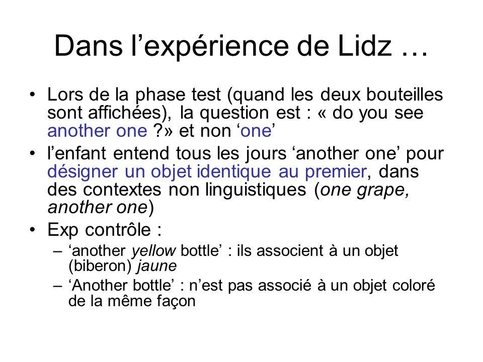 Dans lexpérience de Lidz … Lors de la phase test (quand les deux bouteilles sont affichées), la question est : « do you see another one ?» et non one