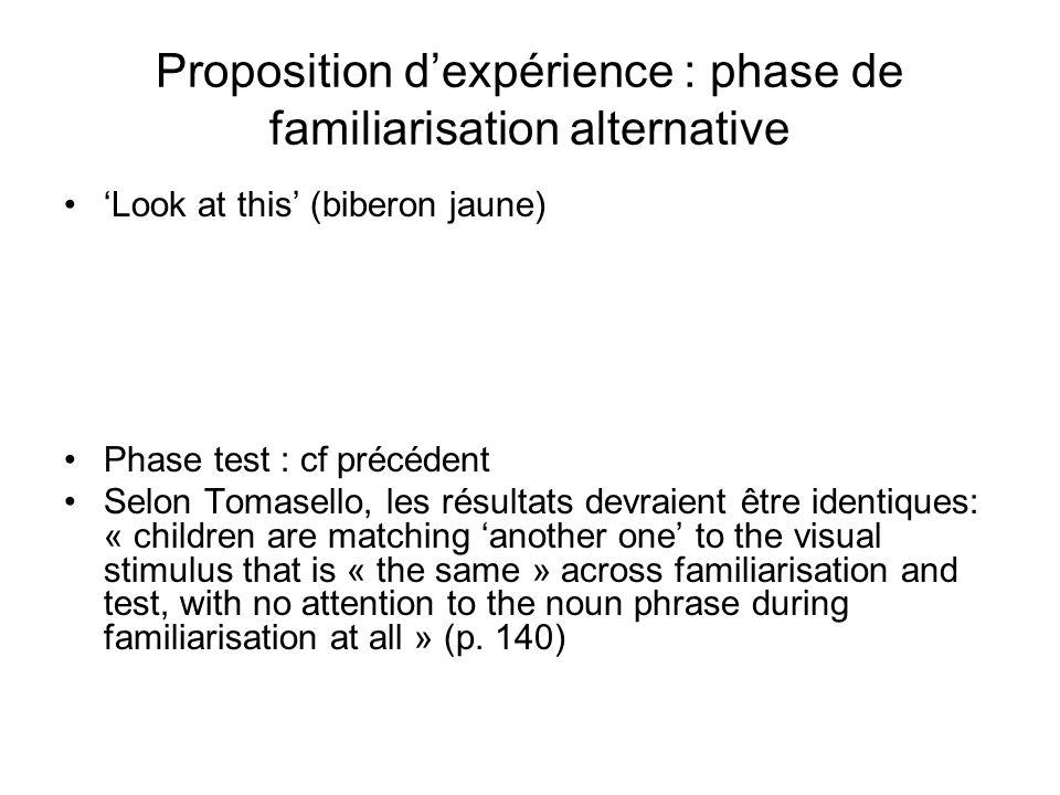 Proposition dexpérience : phase de familiarisation alternative Look at this (biberon jaune) Phase test : cf précédent Selon Tomasello, les résultats d