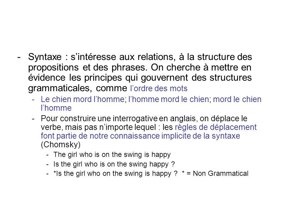 -Syntaxe : sintéresse aux relations, à la structure des propositions et des phrases. On cherche à mettre en évidence les principes qui gouvernent des