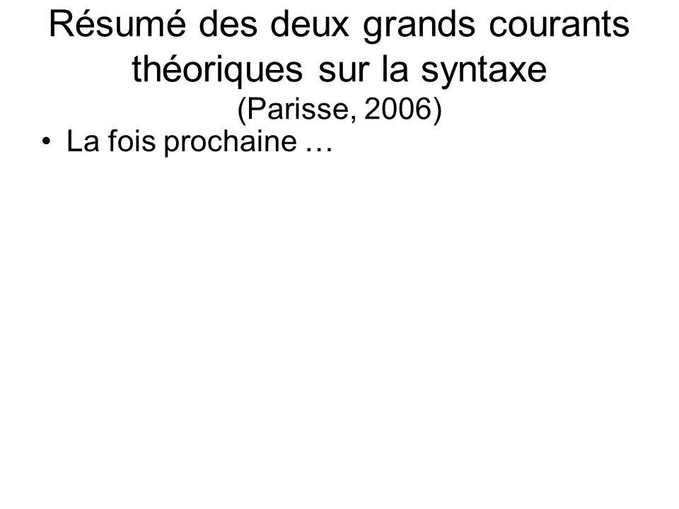 Résumé des deux grands courants théoriques sur la syntaxe (Parisse, 2006) La fois prochaine …