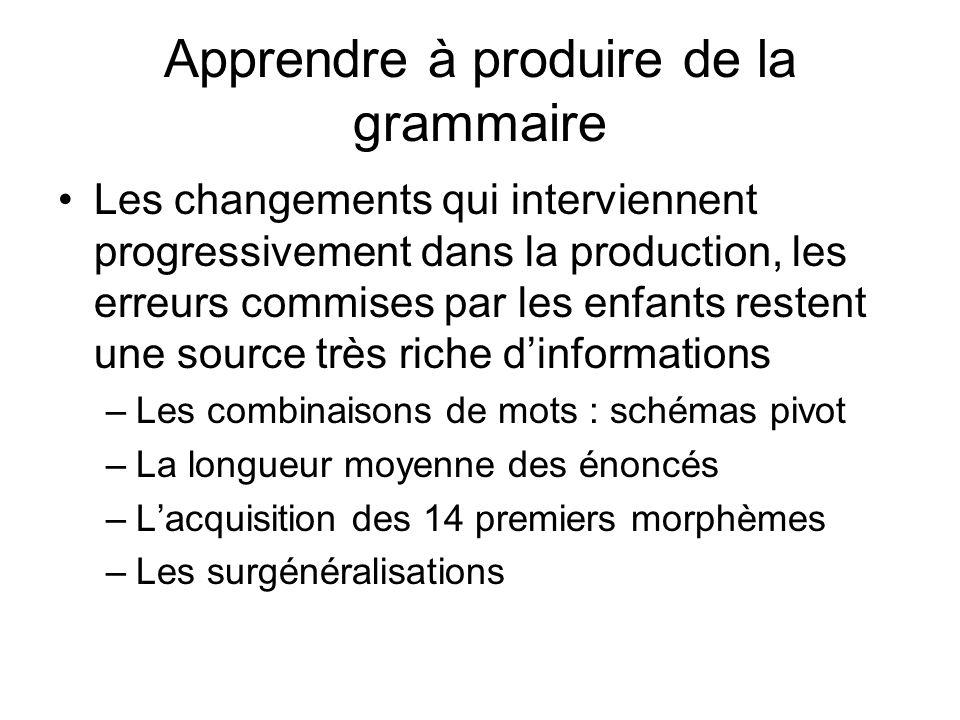 Apprendre à produire de la grammaire Les changements qui interviennent progressivement dans la production, les erreurs commises par les enfants resten