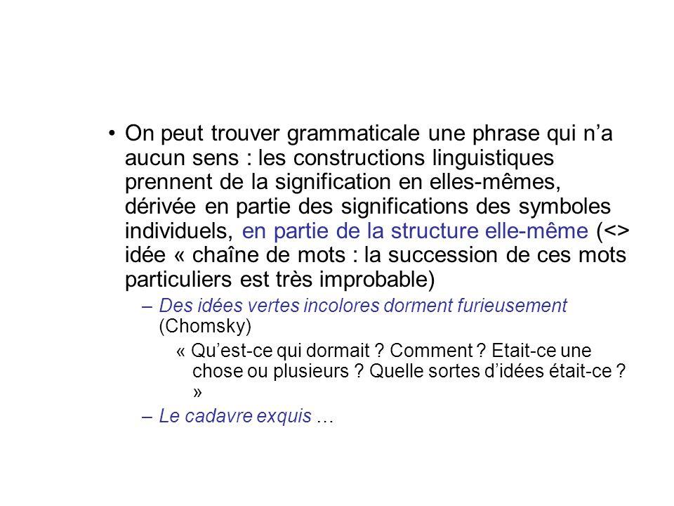On peut trouver grammaticale une phrase qui na aucun sens : les constructions linguistiques prennent de la signification en elles-mêmes, dérivée en pa
