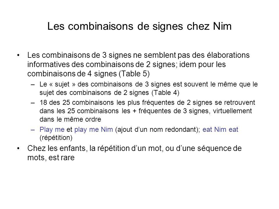Les combinaisons de signes chez Nim Les combinaisons de 3 signes ne semblent pas des élaborations informatives des combinaisons de 2 signes; idem pour