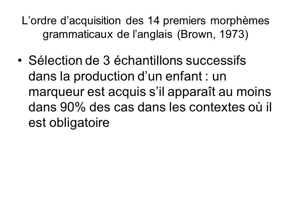 Lordre dacquisition des 14 premiers morphèmes grammaticaux de langlais (Brown, 1973) Sélection de 3 échantillons successifs dans la production dun enf