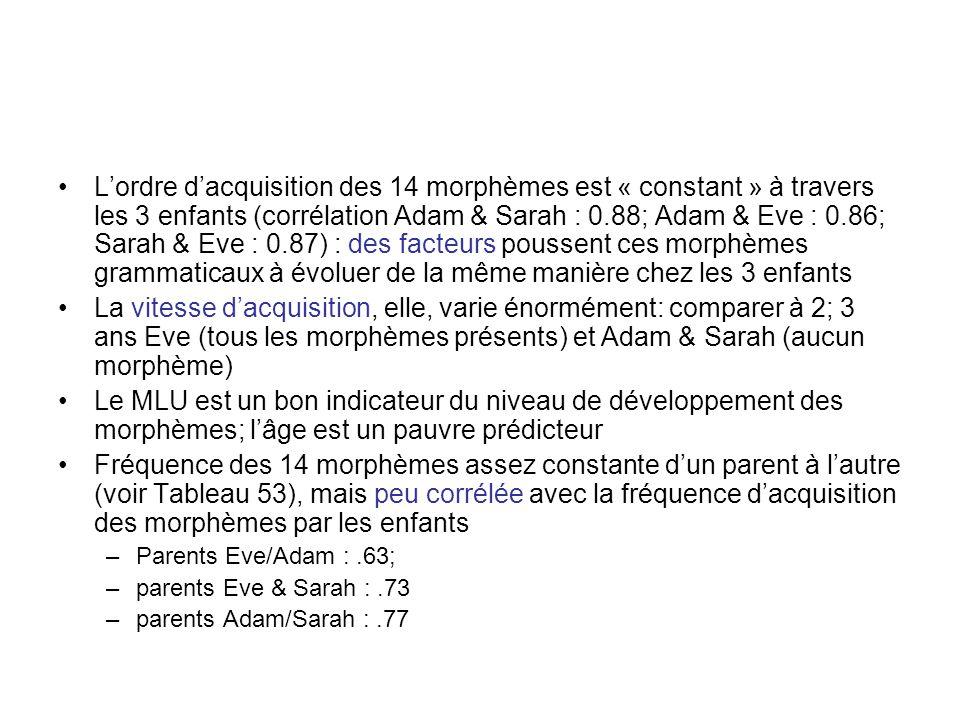 Lordre dacquisition des 14 morphèmes est « constant » à travers les 3 enfants (corrélation Adam & Sarah : 0.88; Adam & Eve : 0.86; Sarah & Eve : 0.87)