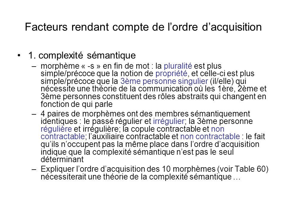 Facteurs rendant compte de lordre dacquisition 1. complexité sémantique –morphème « -s » en fin de mot : la pluralité est plus simple/précoce que la n