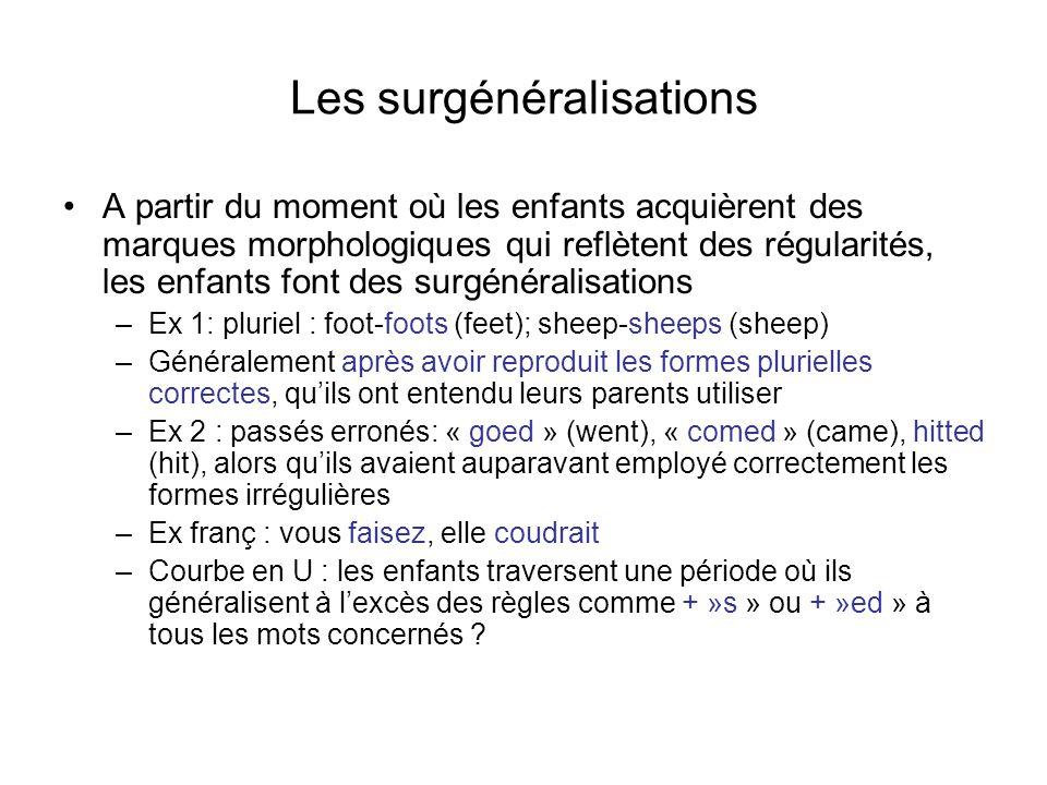 Les surgénéralisations A partir du moment où les enfants acquièrent des marques morphologiques qui reflètent des régularités, les enfants font des sur