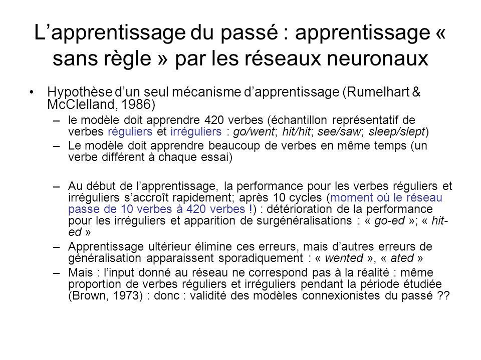 Lapprentissage du passé : apprentissage « sans règle » par les réseaux neuronaux Hypothèse dun seul mécanisme dapprentissage (Rumelhart & McClelland,