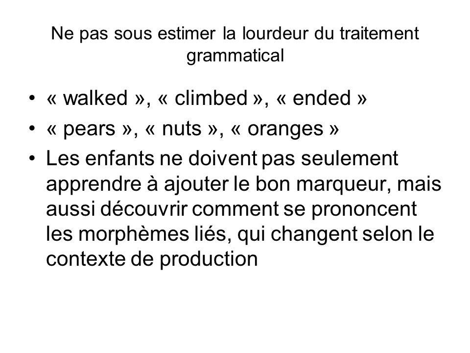 Ne pas sous estimer la lourdeur du traitement grammatical « walked », « climbed », « ended » « pears », « nuts », « oranges » Les enfants ne doivent p