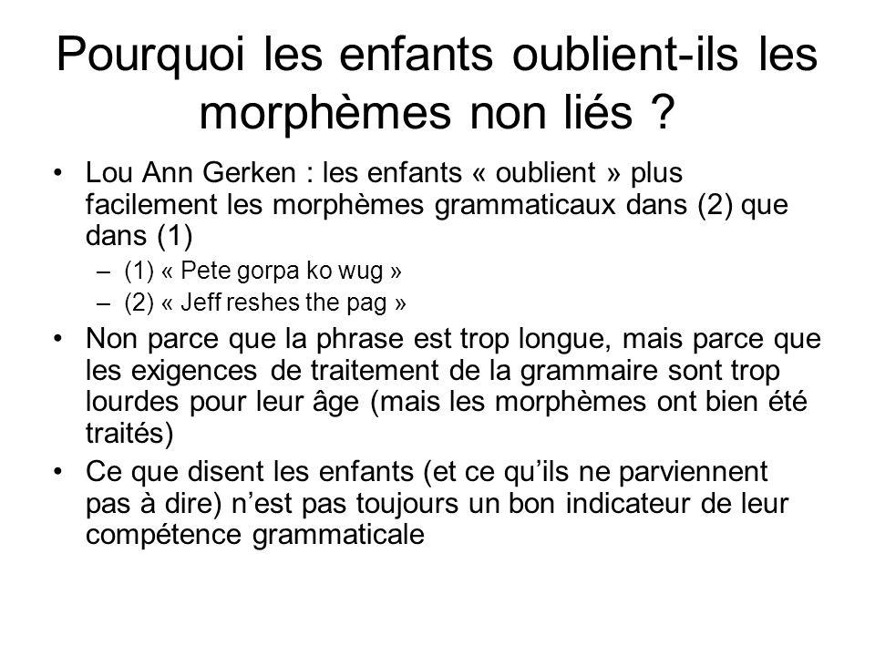 Pourquoi les enfants oublient-ils les morphèmes non liés ? Lou Ann Gerken : les enfants « oublient » plus facilement les morphèmes grammaticaux dans (