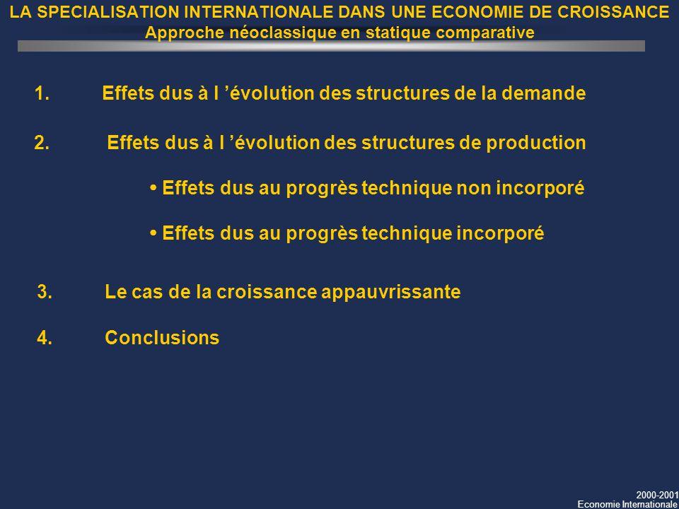 2000-2001 Economie Internationale LA SPECIALISATION INTERNATIONALE DANS UNE ECONOMIE DE CROISSANCE Approche néoclassique en statique comparative 1. Ef