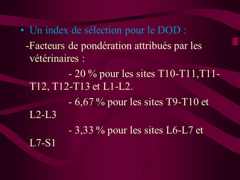 Un index de sélection pour le DOD : -Facteurs de pondération attribués par les vétérinaires : - 20 % pour les sites T10-T11,T11- T12, T12-T13 et L1-L2.