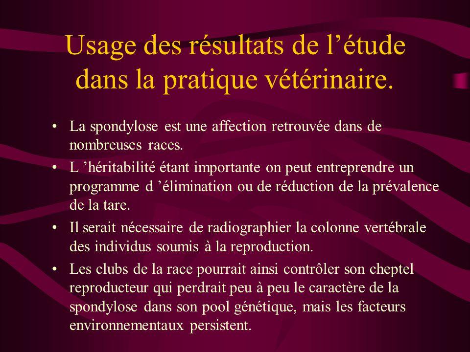 Usage des résultats de létude dans la pratique vétérinaire.