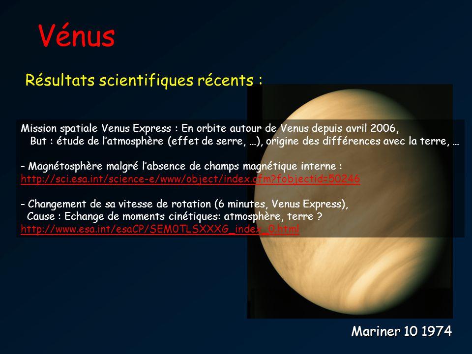 Vénus Mariner 10 1974 Mission spatiale Venus Express : En orbite autour de Venus depuis avril 2006, But : étude de latmosphère (effet de serre, …), or