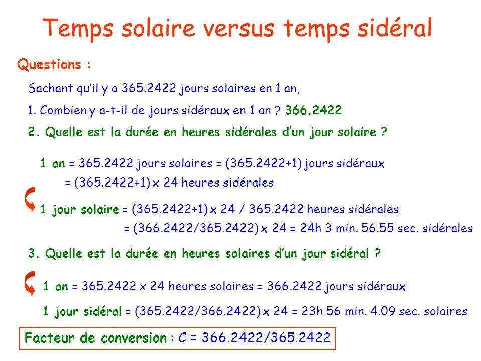 Temps solaire versus temps sidéral Temps et astronomie Questions : Sachant quil y a 365.2422 jours solaires en 1 an, 1. Combien y a-t-il de jours sidé