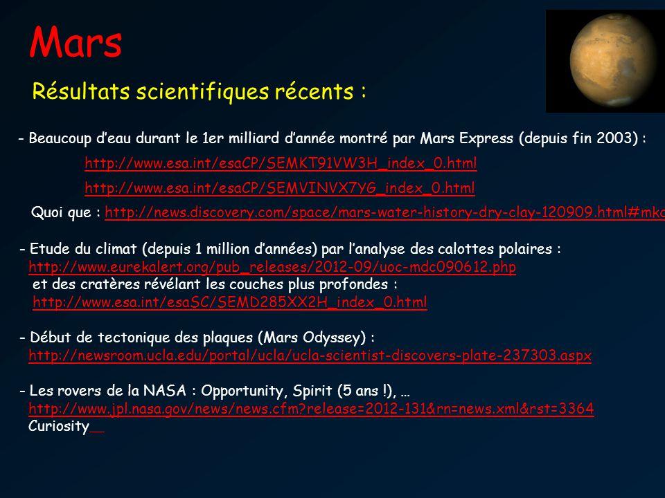 Mars Vie par le passé ?? Résultats scientifiques récents : - Beaucoup deau durant le 1er milliard dannée montré par Mars Express (depuis fin 2003) : h