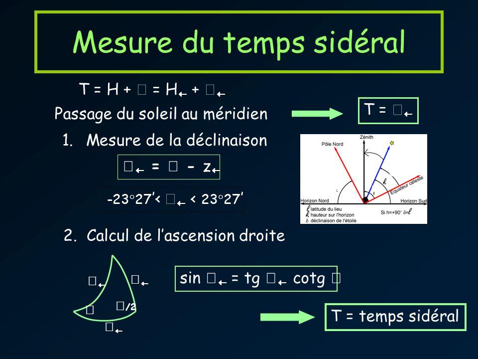 Mesure du temps sidéral T = H + = H + Passage du soleil au méridien T = 2. Calcul de lascension droite /2 sin = tg cotg 1.Mesure de la déclinaison z =