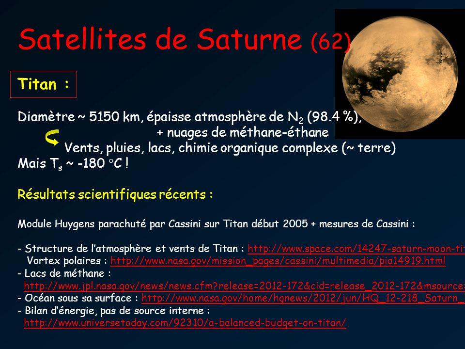 Satellites de Saturne (62) Titan : Diamètre ~ 5150 km, épaisse atmosphère de N 2 (98.4 %), + nuages de méthane-éthane Vents, pluies, lacs, chimie orga