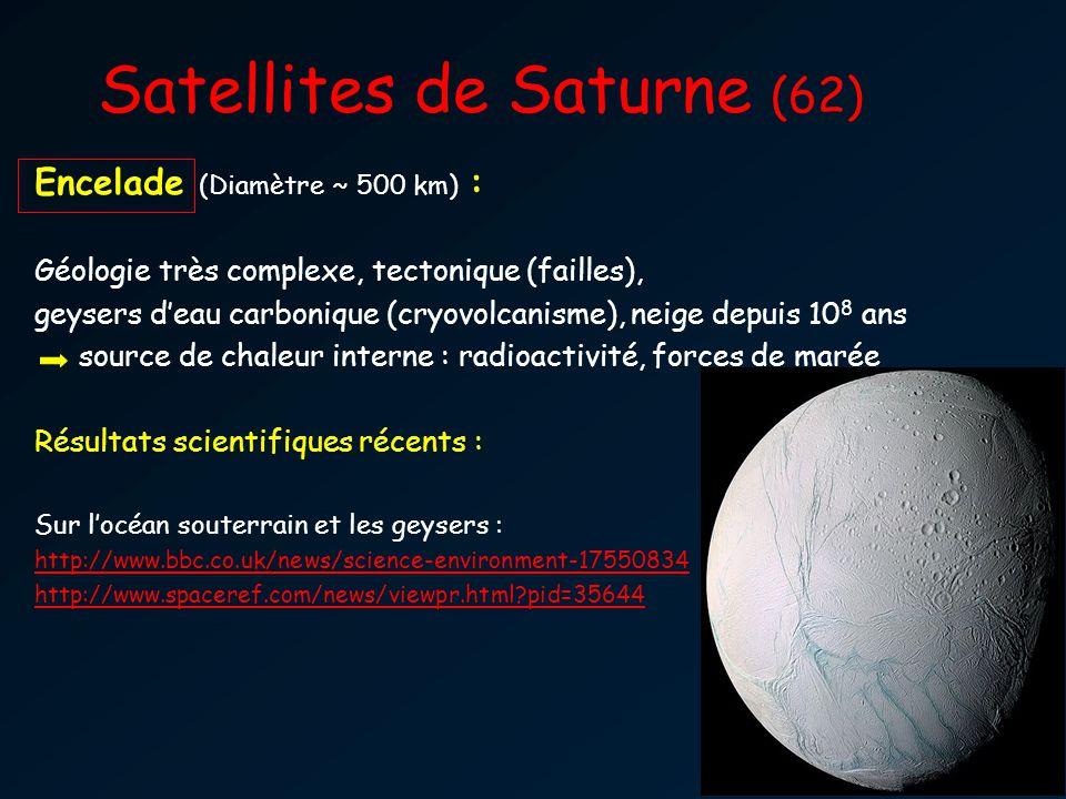 Satellites de Saturne (62) Encelade (Diamètre ~ 500 km) : Géologie très complexe, tectonique (failles), geysers deau carbonique (cryovolcanisme), neig