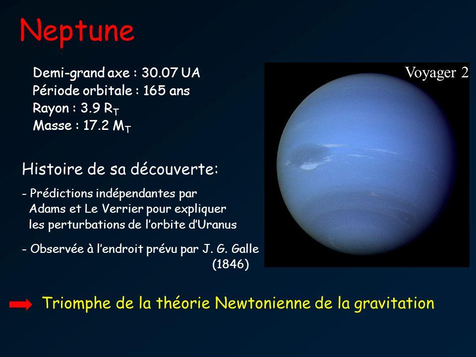 Neptune Voyager 2 Demi-grand axe : 30.07 UA Période orbitale : 165 ans Rayon : 3.9 R T Masse : 17.2 M T Histoire de sa découverte: - Prédictions indép