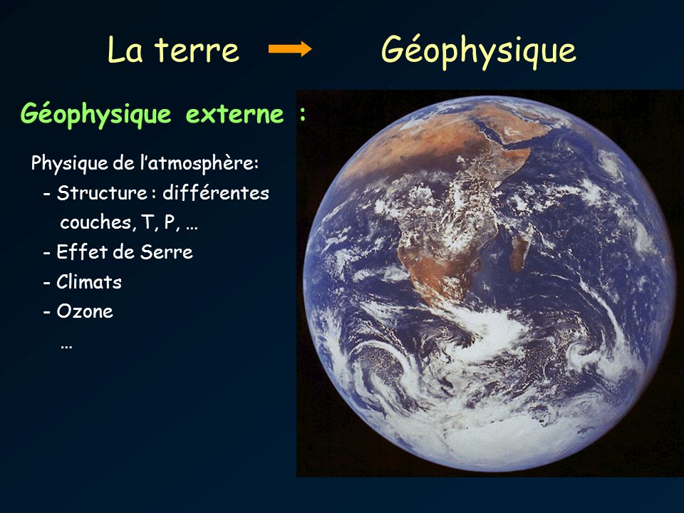 La terreGéophysique Géophysique externe : Physique de latmosphère: - Structure : différentes couches, T, P, … - Effet de Serre - Climats - Ozone …