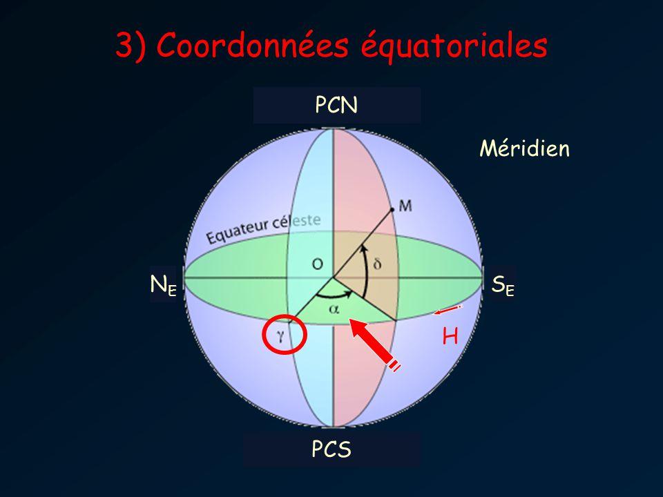 NENE SESE Méridien H PCN PCS 3) Coordonnées équatoriales