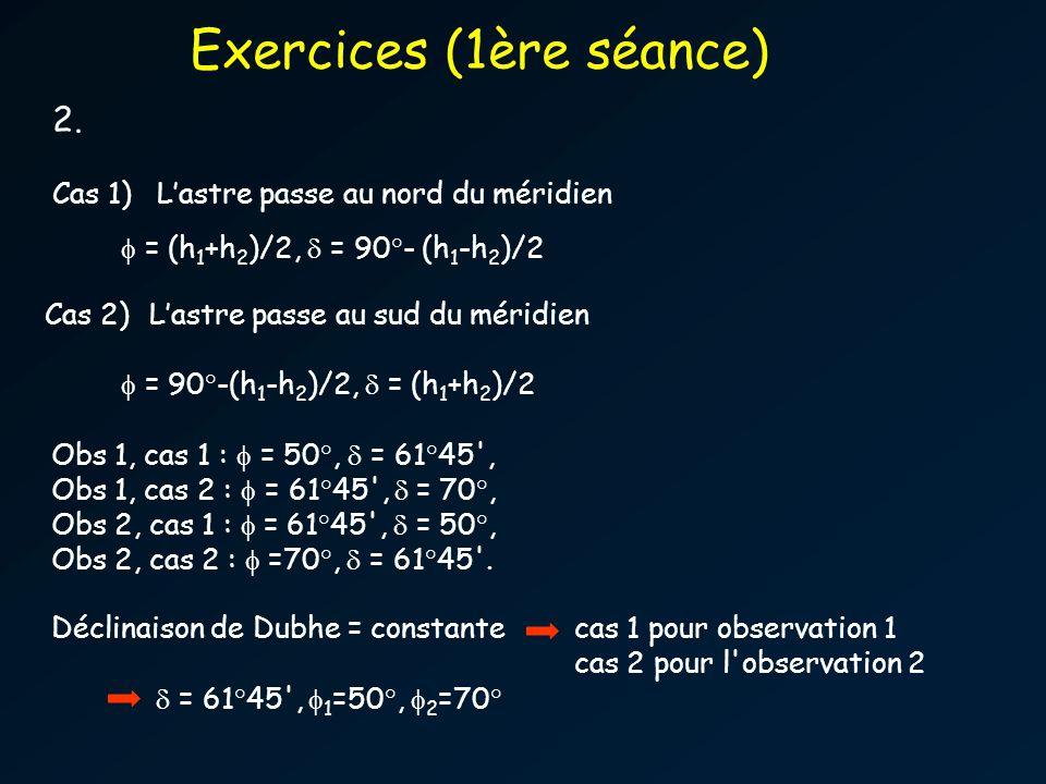 2. Cas 1)Lastre passe au nord du méridien = (h 1 +h 2 )/2, = 90°- (h 1 -h 2 )/2 Cas 2)Lastre passe au sud du méridien = 90°-(h 1 -h 2 )/2, = (h 1 +h 2