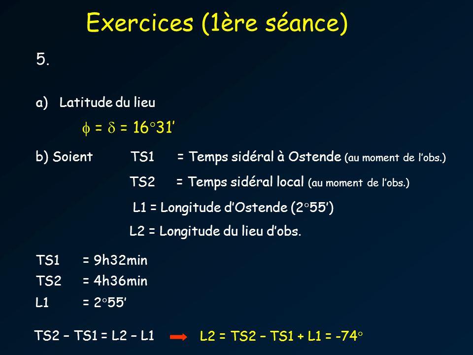 5. a)Latitude du lieu TS2= Temps sidéral local (au moment de lobs.) Exercices (1ère séance) TS2 – TS1 = L2 – L1 TS1 = 9h32min TS2 = 4h36min L1= 2°55 L