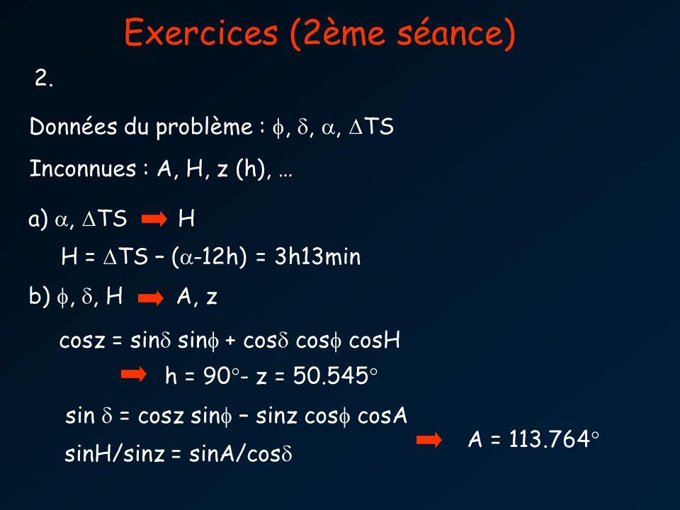 Exercices (2ème séance) 2. Données du problème :,,, TS Inconnues : A, H, z (h), … a), TS H H = TS – ( -12h) = 3h13min b),, H A, z cosz = sin sin + cos