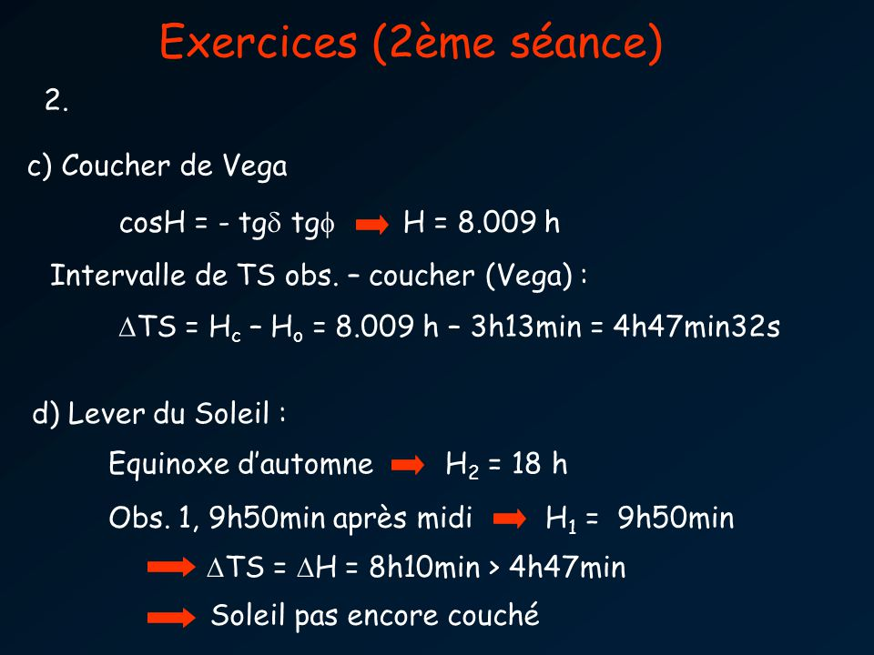 Exercices (2ème séance) 2. cosH = - tg tg H = 8.009 h c) Coucher de Vega TS = H c – H o = 8.009 h – 3h13min = 4h47min32s Intervalle de TS obs. – couch