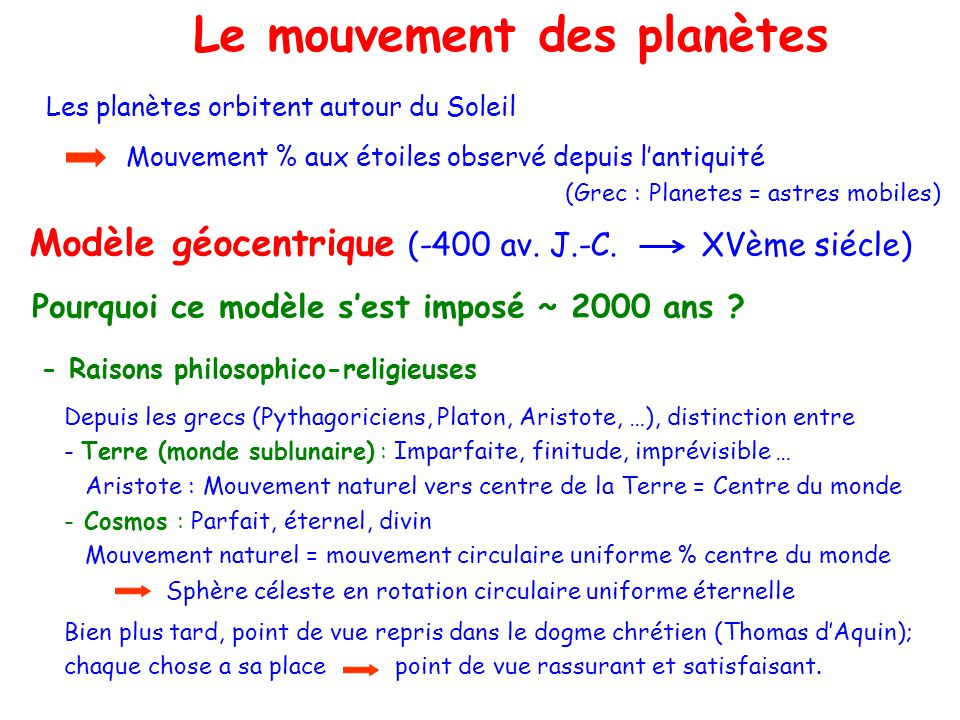 Le problème à Le mouvement des planètes Les planètes orbitent autour du Soleil Mouvement % aux étoiles observé depuis lantiquité Modèle géocentrique (