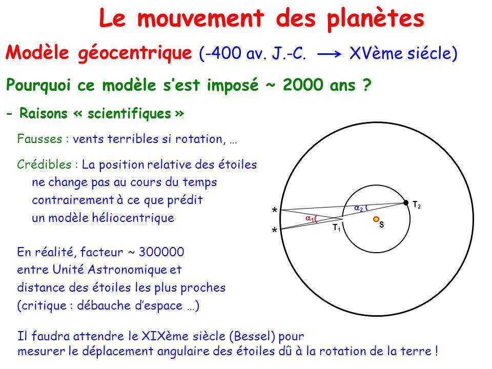 Le problème à Le mouvement des planètes Modèle géocentrique (-400 av. J.-C. XVème siécle) Pourquoi ce modèle sest imposé ~ 2000 ans ? - Raisons « scie
