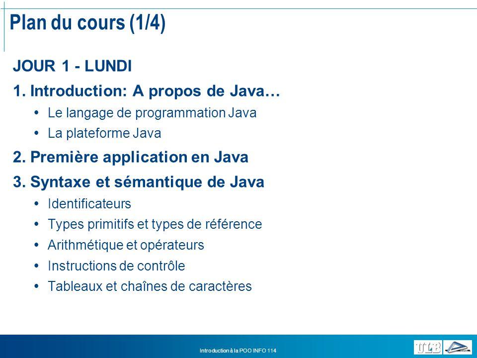 Introduction à la POO INFO 114 Java comme langage de programmation Neutre architecturalement Il existe une grande diversité de systèmes dexploitation Le compilateur Java génère un bytecode, cest à dire un format intermédiaire, neutre architecturalement, conçu pour faire transiter efficacement le code vers des hardware différents et/ou plateformes différentes Le bytecode ne peut-être interprété que par le processeur de la JVM MyProgram.java MyProgram.class Mac JVM Java Compiler = bytecode Windows JVM Unix JVM
