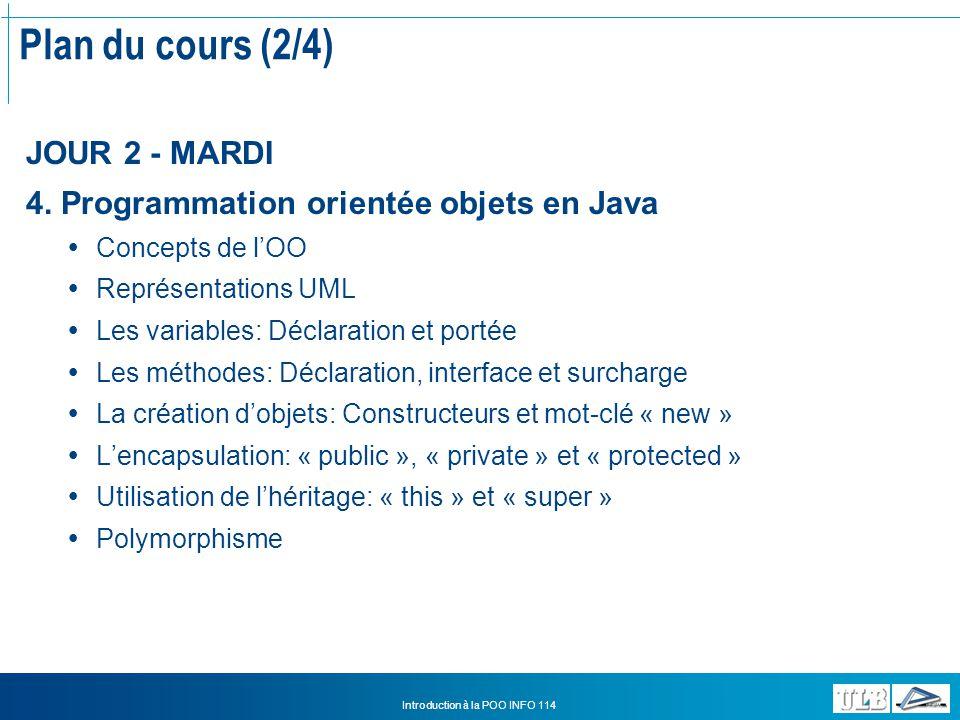 Introduction à la POO INFO 114 Utilisation de lhéritage (2/3) Les mots-clé « this » et « super » Dans le constructeur Il existe toujours un constructeur.