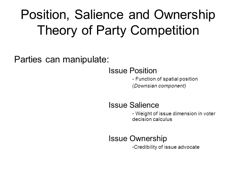 Position, Salience and Ownership Theory of Party Competition Parties can manipulate: Issue Position - Function of spatial position (Downsian component) Issue Salience - Weight of issue dimension in voter decision calculus Issue Ownership -Credibility of issue advocate