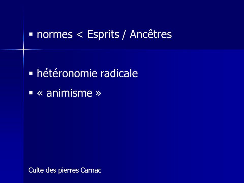 normes < Esprits / Ancêtres hétéronomie radicale « animisme » Culte des pierres Carnac