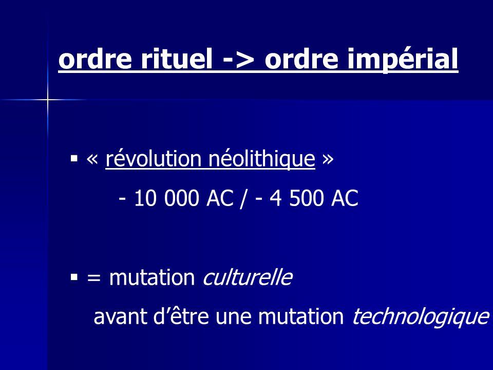 « révolution néolithique » - 10 000 AC / - 4 500 AC = mutation culturelle avant dêtre une mutation technologique ordre rituel -> ordre impérial