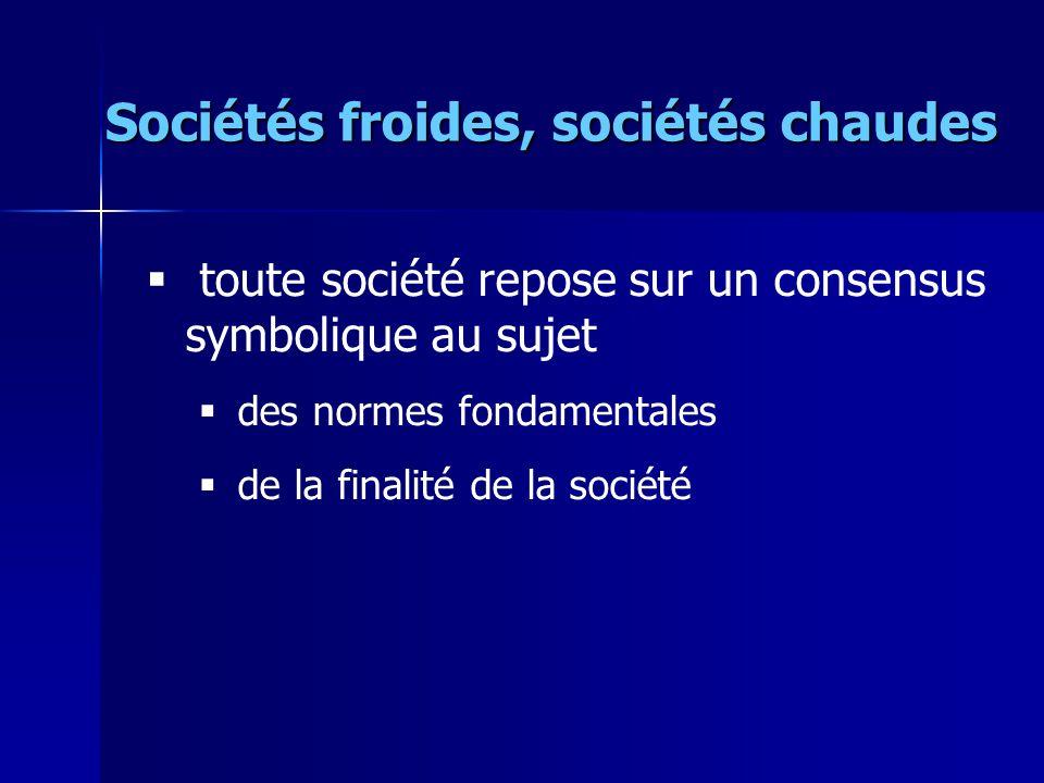 Sociétés froides, sociétés chaudes toute société repose sur un consensus symbolique au sujet des normes fondamentales de la finalité de la société