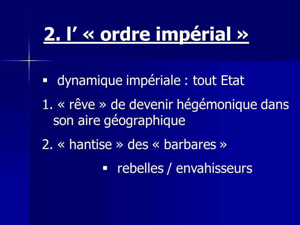 dynamique impériale : tout Etat 1. « rêve » de devenir hégémonique dans son aire géographique 2. « hantise » des « barbares » rebelles / envahisseurs