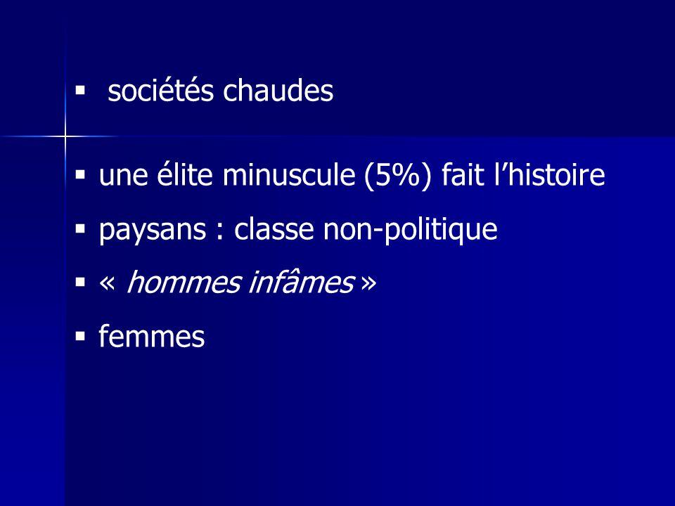 sociétés chaudes une élite minuscule (5%) fait lhistoire paysans : classe non-politique « hommes infâmes » femmes