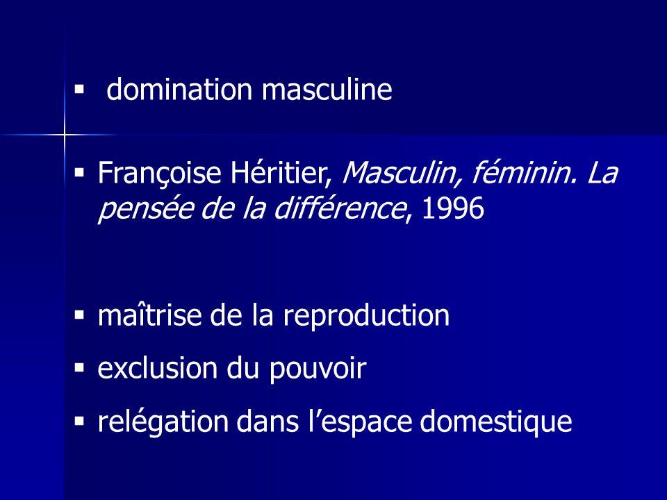 domination masculine Françoise Héritier, Masculin, féminin. La pensée de la différence, 1996 maîtrise de la reproduction exclusion du pouvoir relégati