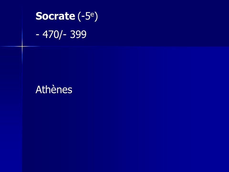Socrate (-5 e ) - 470/- 399 Athènes