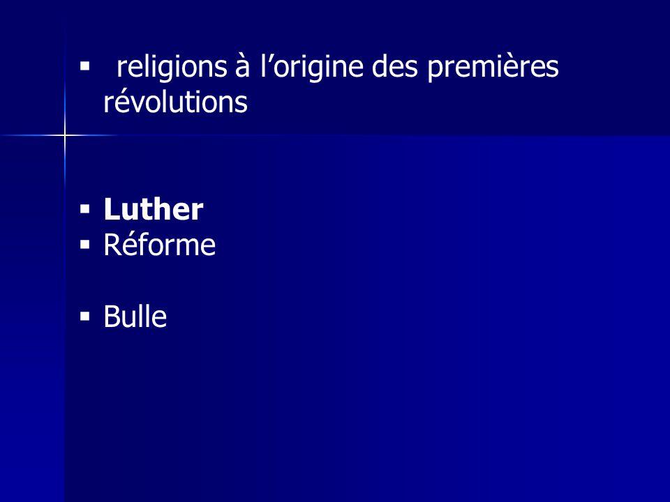 religions à lorigine des premières révolutions Luther Réforme Bulle