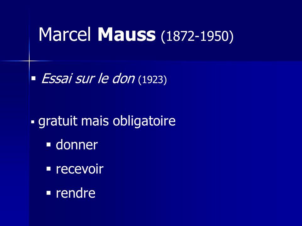 Essai sur le don (1923) gratuit mais obligatoire donner recevoir rendre Marcel Mauss (1872-1950)