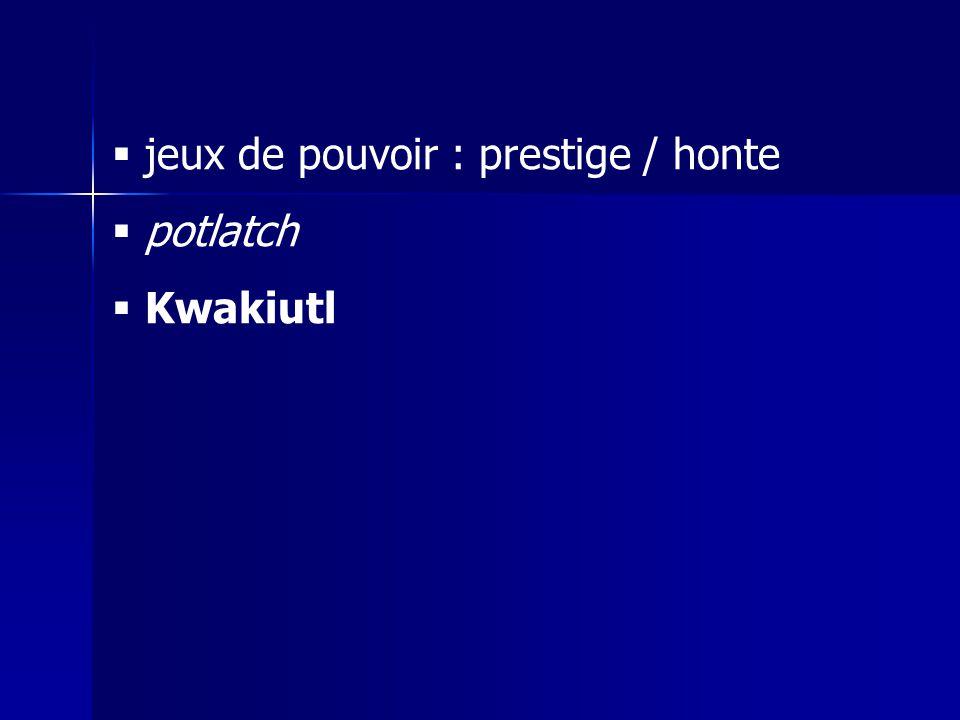 jeux de pouvoir : prestige / honte potlatch Kwakiutl