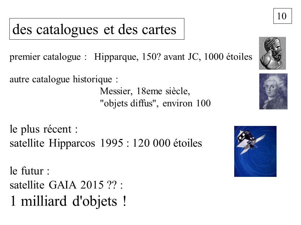 10 des catalogues et des cartes premier catalogue : Hipparque, 150? avant JC, 1000 étoiles autre catalogue historique : Messier, 18eme siècle,