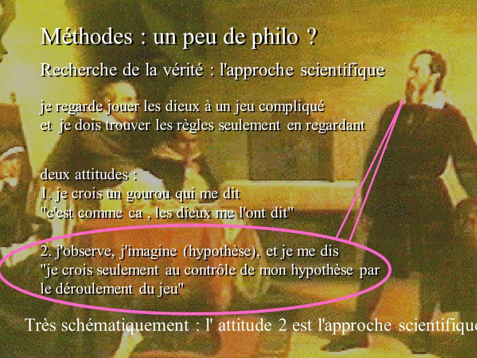 12 Méthodes : un peu de philo ? Recherche de la vérité : l'approche scientifique je regarde jouer les dieux à un jeu compliqué et je dois trouver les