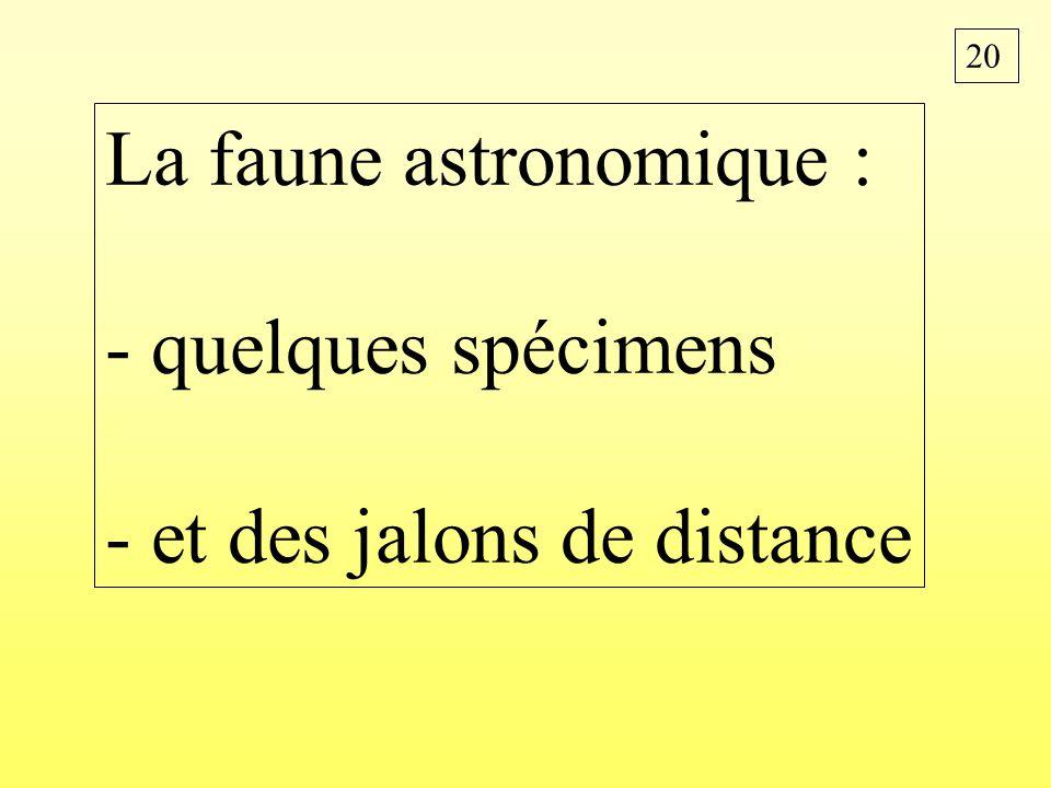 20 La faune astronomique : - quelques spécimens - et des jalons de distance