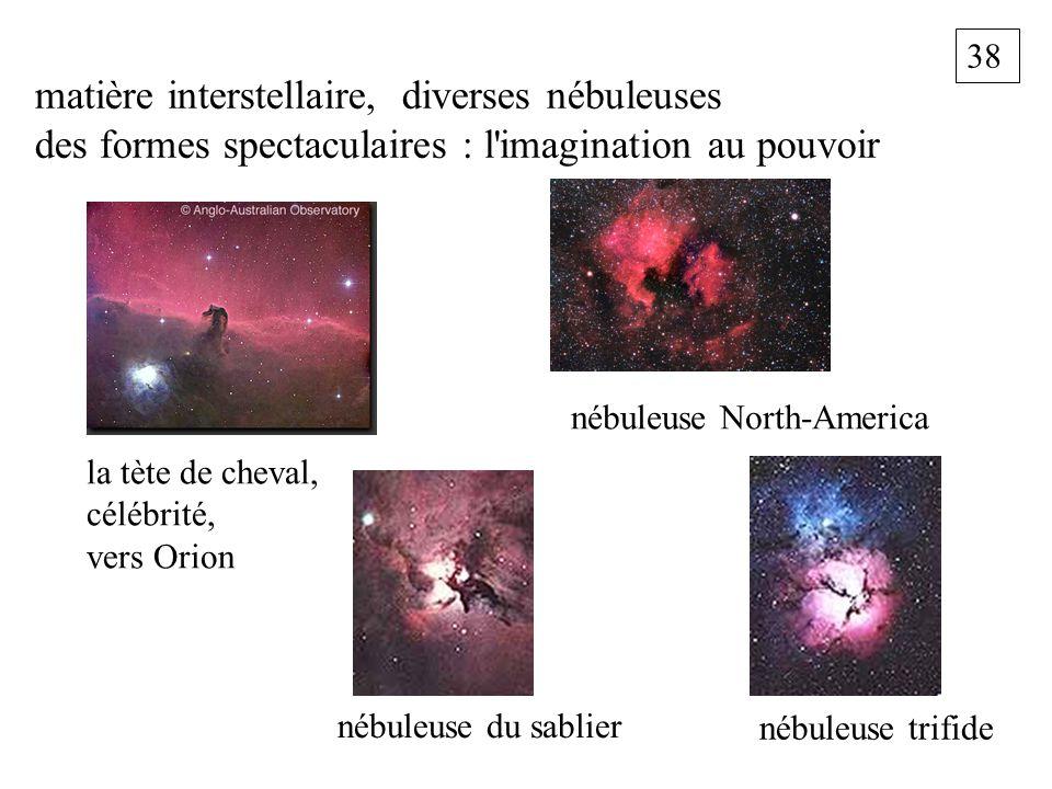 38 matière interstellaire, diverses nébuleuses des formes spectaculaires : l'imagination au pouvoir la tète de cheval, célébrité, vers Orion nébuleuse